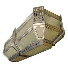 American Skyscraper Deco Flush-Mounted Ceiling Fixture
