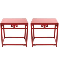 Michael Taylor for Baker Far East Red Side Tables, Pair