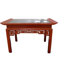 Kittinger Red Chinoiserie Cocktail Table