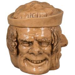 Unusual Antique Figural Three-Headed Ceramic Tobacco Jar