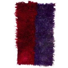 Red & Violet Blue Shag Pile Tulu Rug