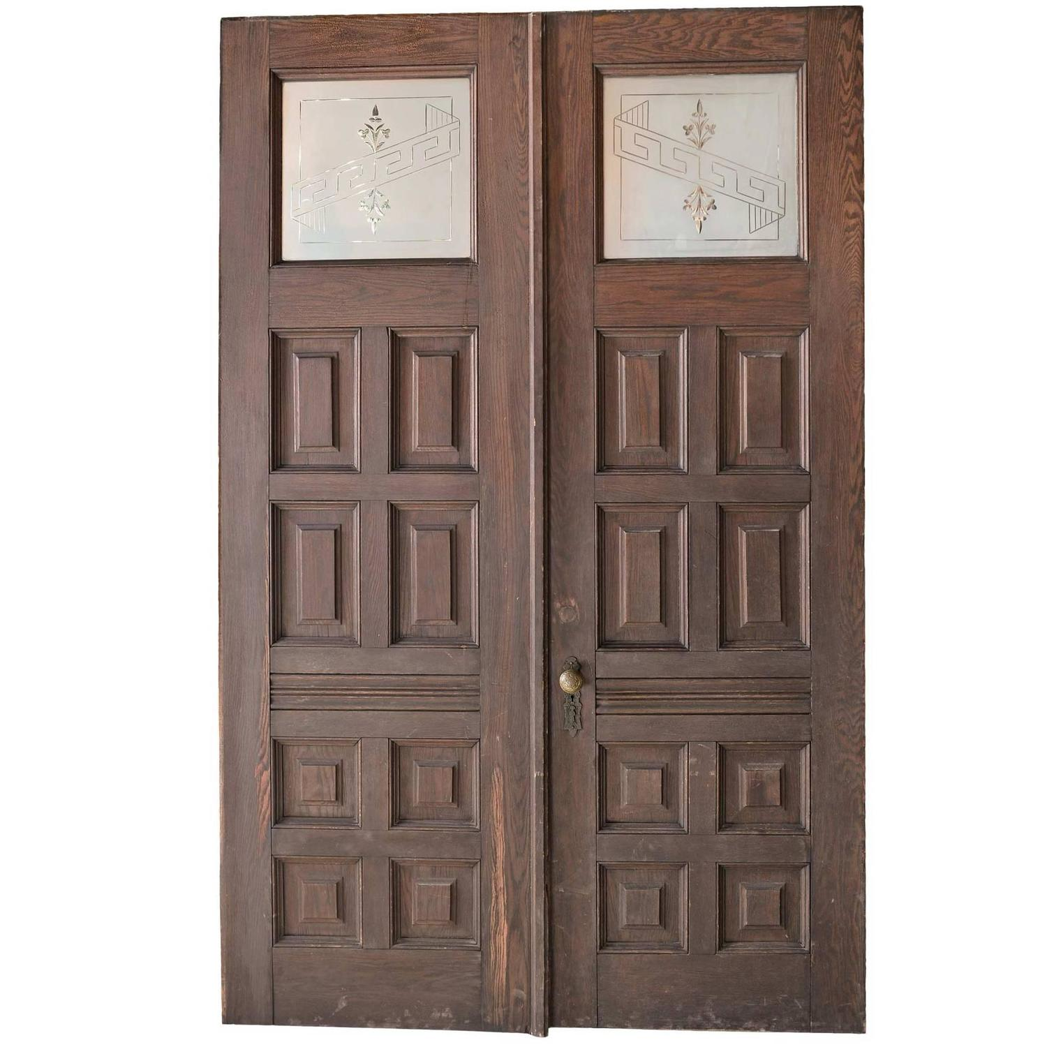 Early Victorian Entry Door Pair With Original Hardware And Etched Glass  Panels At 1stdibs