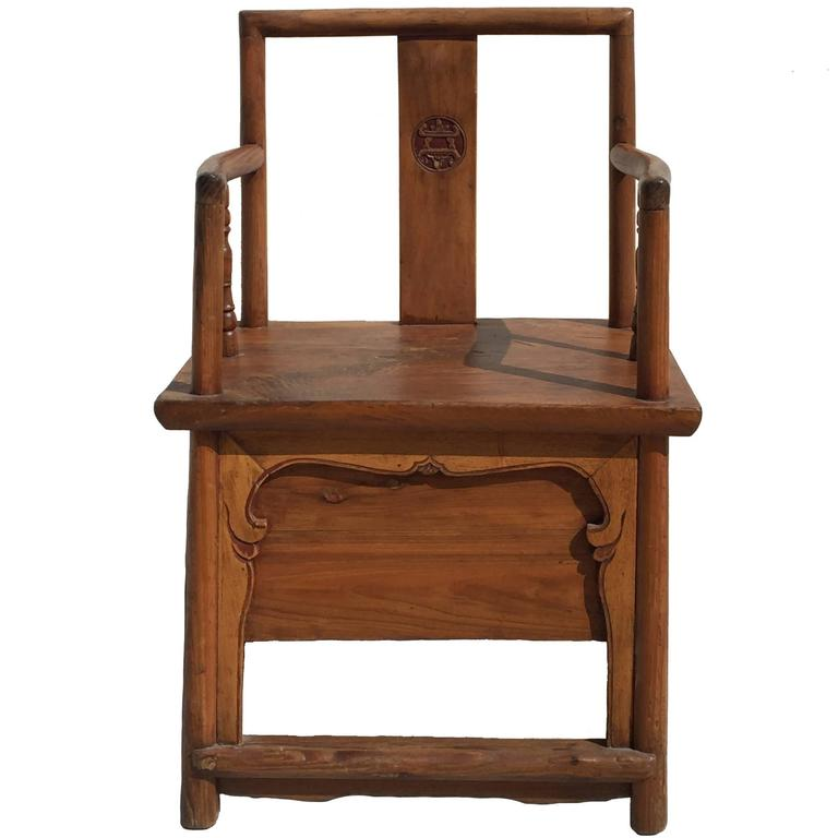 Antique chinese official 39 s armchair with hidden drawer at for Chinese art furniture
