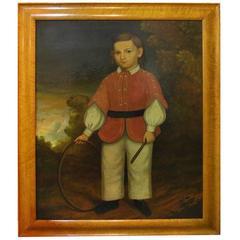 Wonderfully Naive 18th Century American Folk Art Oil on Canvas