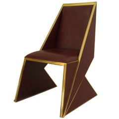 Contemporary American Geometric Upholstered Brass and Giltwood Dining Chair