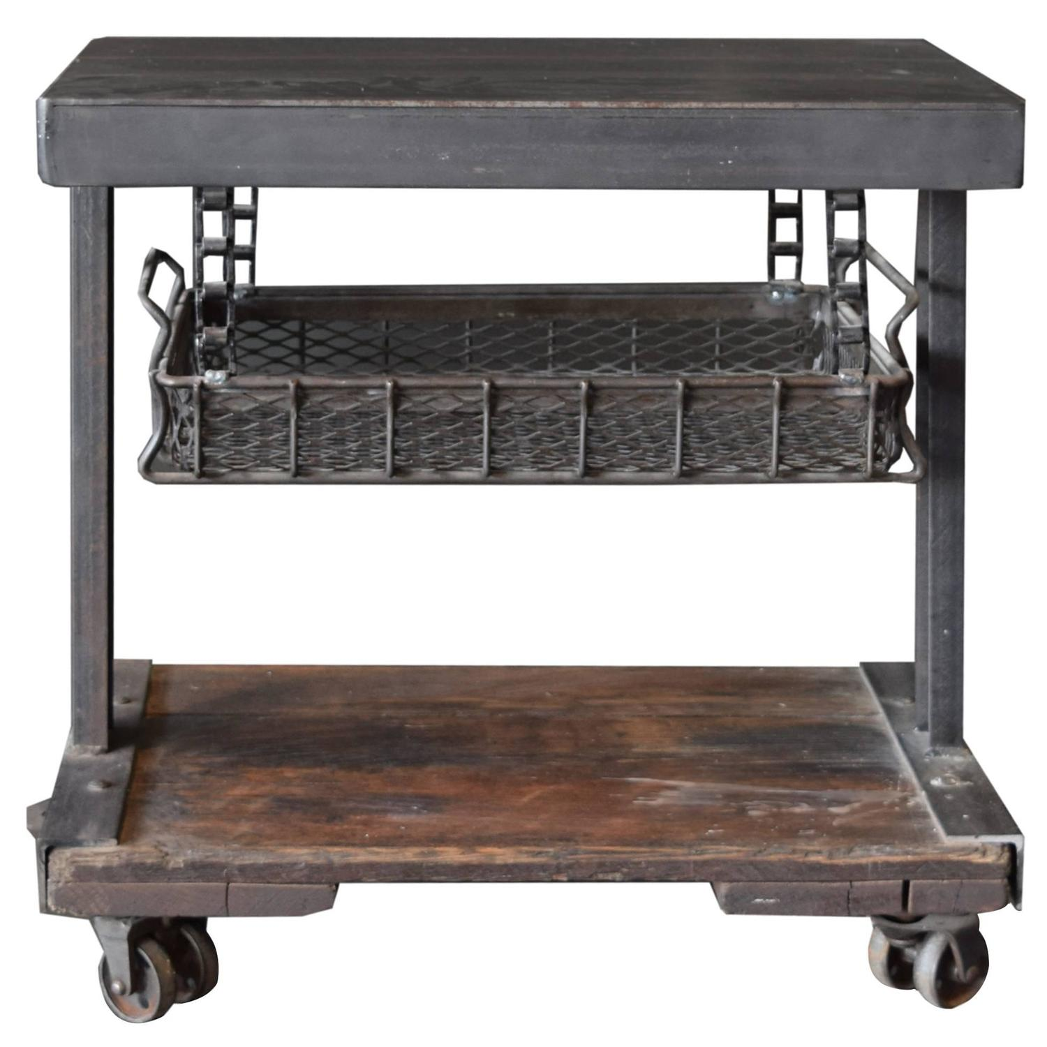 American Industrial Side Table With Tray At 1stdibs