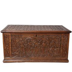 16th Century Pearwood Coffer Depicting Diana and Actaeon