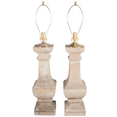 Pair of Composite Stone Baluster Lamps