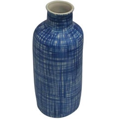 Stoneware Royal Blue Hashtag Pattern Vase, China, Contemporary
