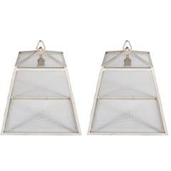 Trapezoidal Glass and Metal Frame Herve Baume Lanterns
