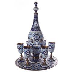 Russian Silver Gilt and Enamel Liqueur Set