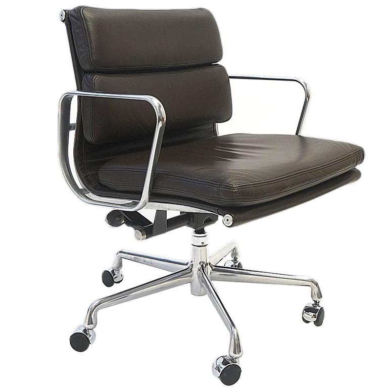 charles and ray eames soft pad chair in leather by herman