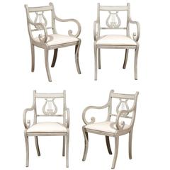 Swedish Set of Four Lyre Back Chairs