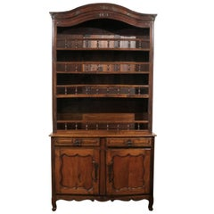 French 1790s Louis XV Style Cherry Vaisselier with Baluster Adorned Shelves