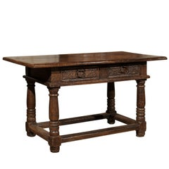 French 1750s Walnut Library Table with Carved Drawers and Original Hardware