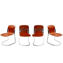 4 Willy Rizzo Italian Steel and Saddle Leather Dining Chairs