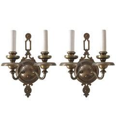 Pair of Antique Double Light Brass Sconces