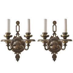 Pair of Antique Double Light Brass Sconces