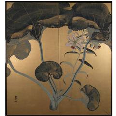 """Japanese Screen """"Lotus Leaves and Tiger Lily on Gold"""""""