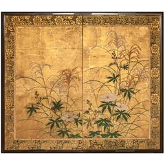 """Japanese Screen """"Flowers and Grasses on Gold"""""""