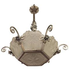 Gorgeous French Art Deco Chandelier by Jean Noverdy.