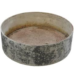 French Round Fiber Cement Planter with Residual Red Paint