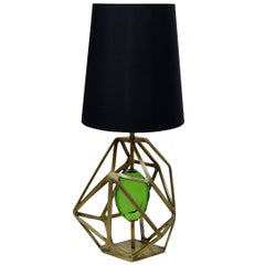 Table Lamp Jewelry in Polished Brass or Stainless Steel with Jewelry Glass