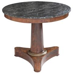 French 19th Century Round Mahogany Empire Table with Marble Top