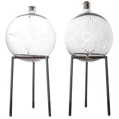 Pair of Crystal Apothecary Spheres on Metal Stands