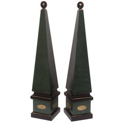 Large Pair of Vintage Wood Obelisks