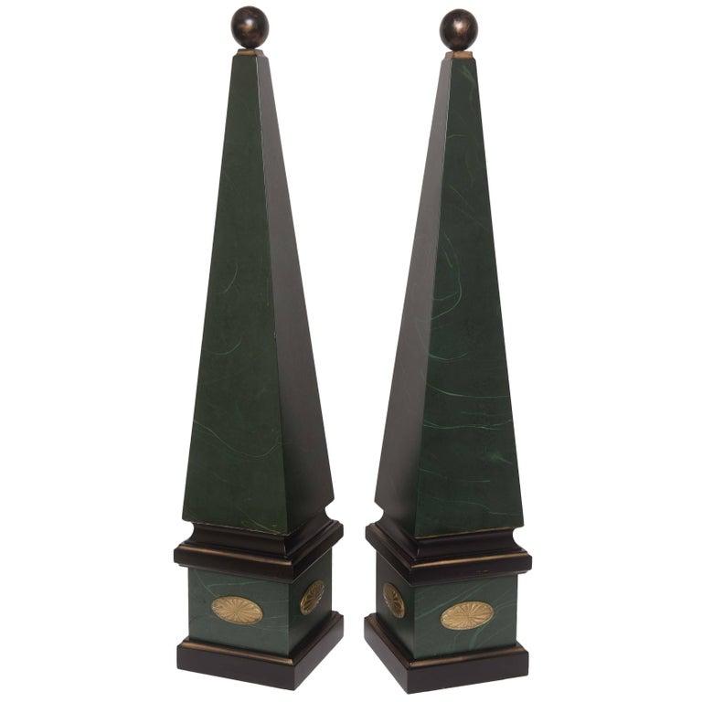 Large Pair of Vintage Wood Obelisks For Sale
