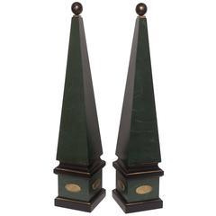 Large Pair of Vintage Wood Obelisks