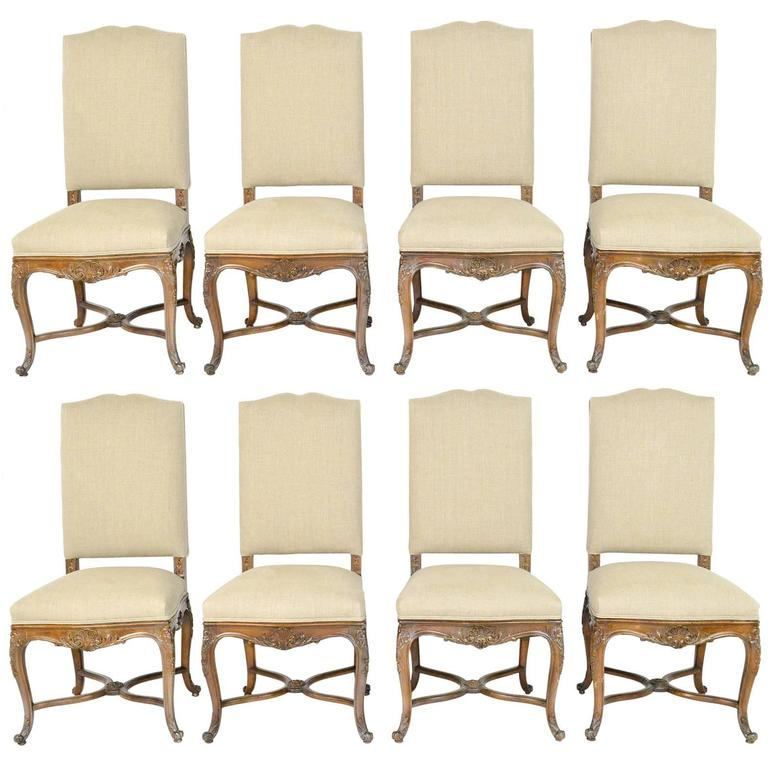 Set of Eight Louis XV Style Walnut Dining Chairs