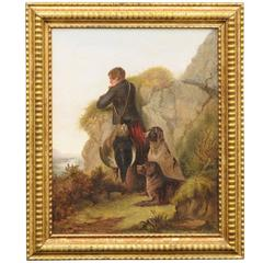 Oil Painting of Hunter with Dogs