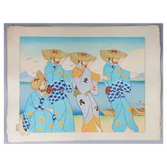 Japanese Woodblock Print Paul Jacoulet, Danses D'Odessa, Sado, Japan