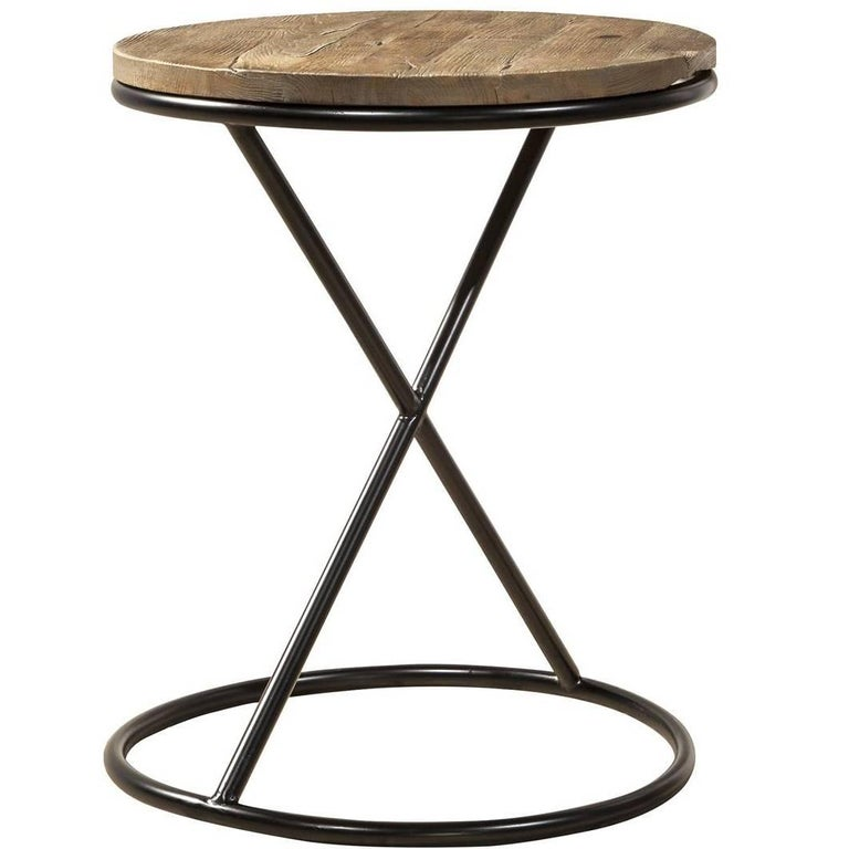 Wood and Steel Round Side Table