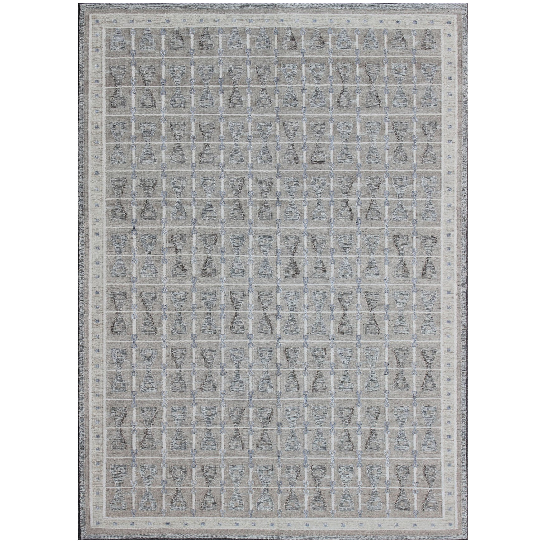 Large Modern Scandinavian/Swedish Flat-Weave Geometric Design Rug