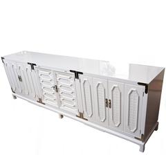 Vintage White Lacquered and Nickel Silver Cabinet or Buffet