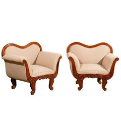 Pair of 19th Century Large-Scale Swedish Wooden Club Chairs