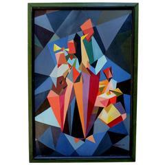 Cubist Oil on Board by David Llewellyn, Dated 1967