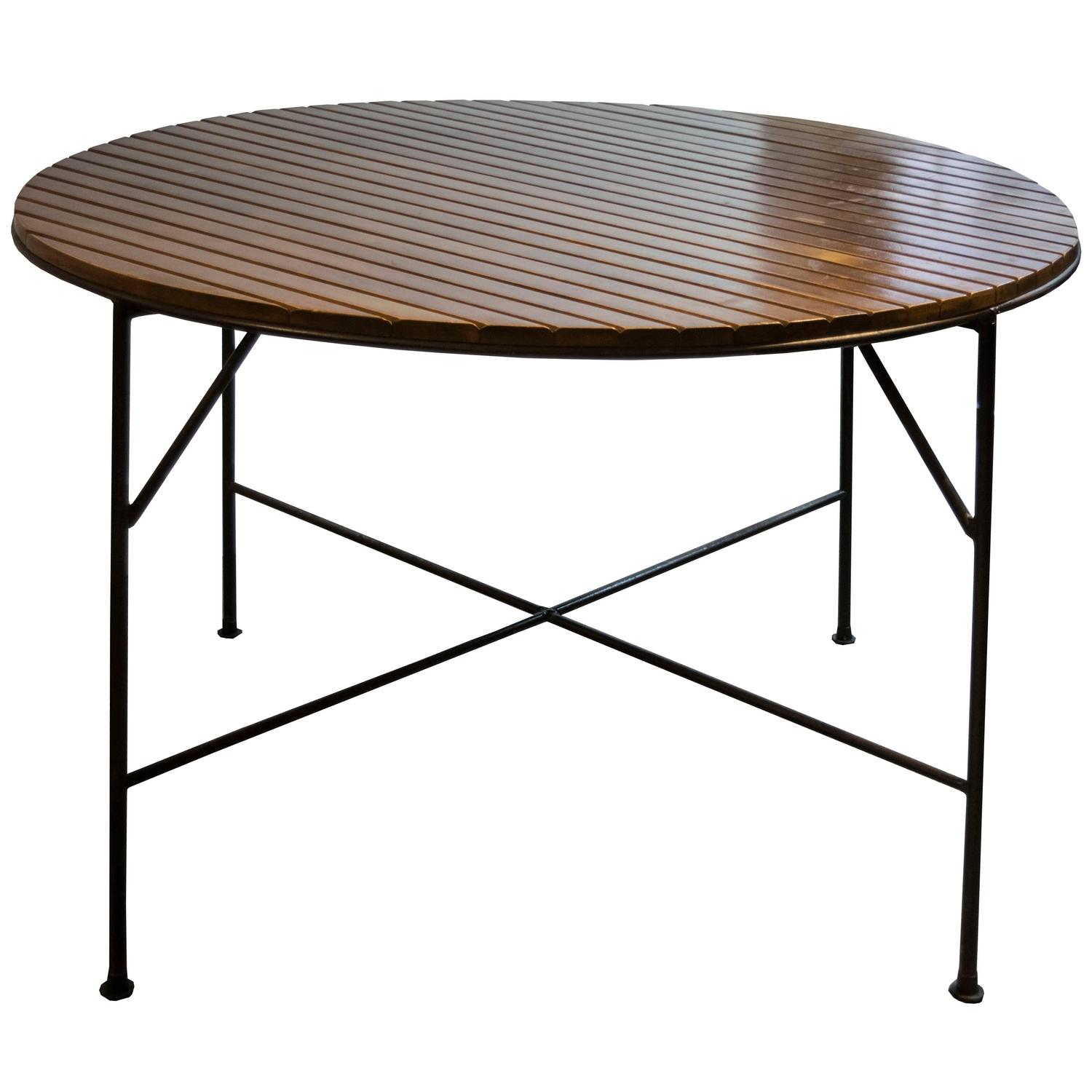 arthur umanoff hand forged wrought iron and wood round table at 1stdibs. Black Bedroom Furniture Sets. Home Design Ideas