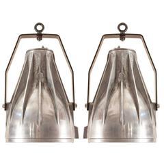 Pair of Mid-Century Industrial Aluminum Pendant Lights