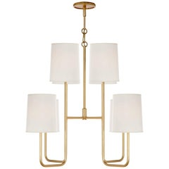 Gilded Medium Chandelier with Silk Shades