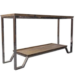 Pine and Stainless Steel Console Table