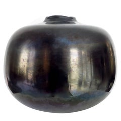 Monumental Italian Murano Black Blown Glass Vessel Vase by Massimo Micheluzzi