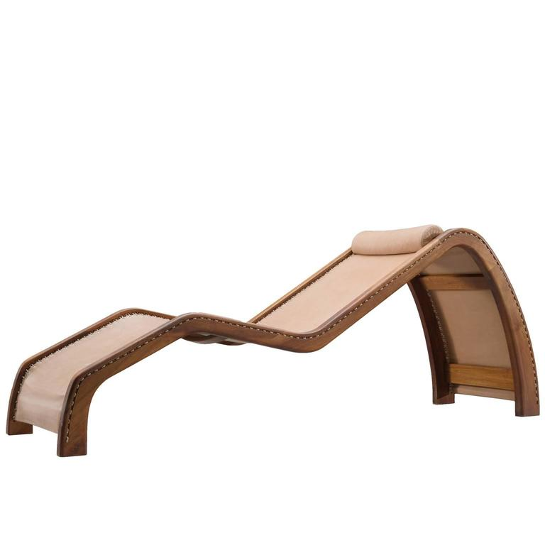 American Daybed in Rosewood and Natural Leather