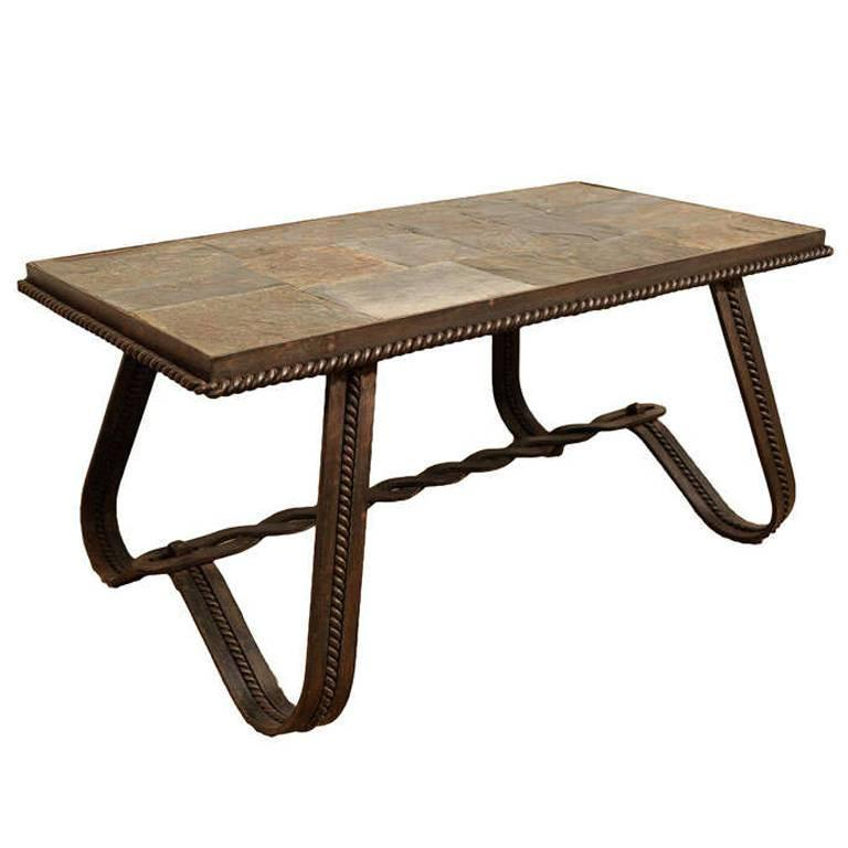 French wrought iron and tiled stone rectangular coffee for Stone and iron coffee table