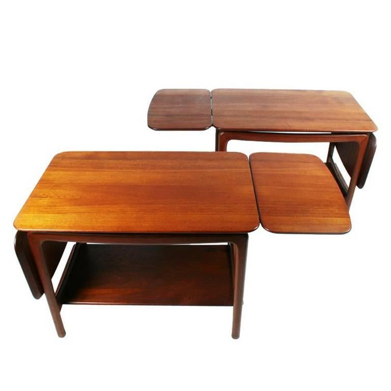 Pair Of Drop Leaf Side Tables By Peter Hvidt For Sale
