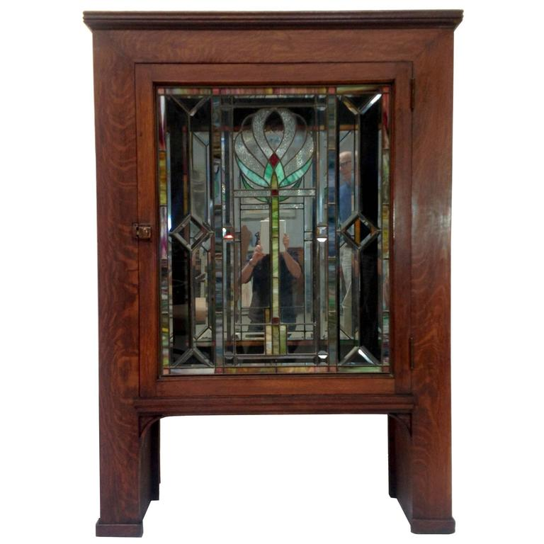 Stained Glass For Kitchen Cabinets: Antique Craftsman Mission Cabinet With Stained Glass Door