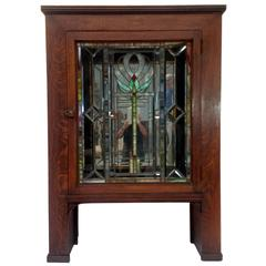 Antique Stickley Style Cabinet with Stained Glass Door